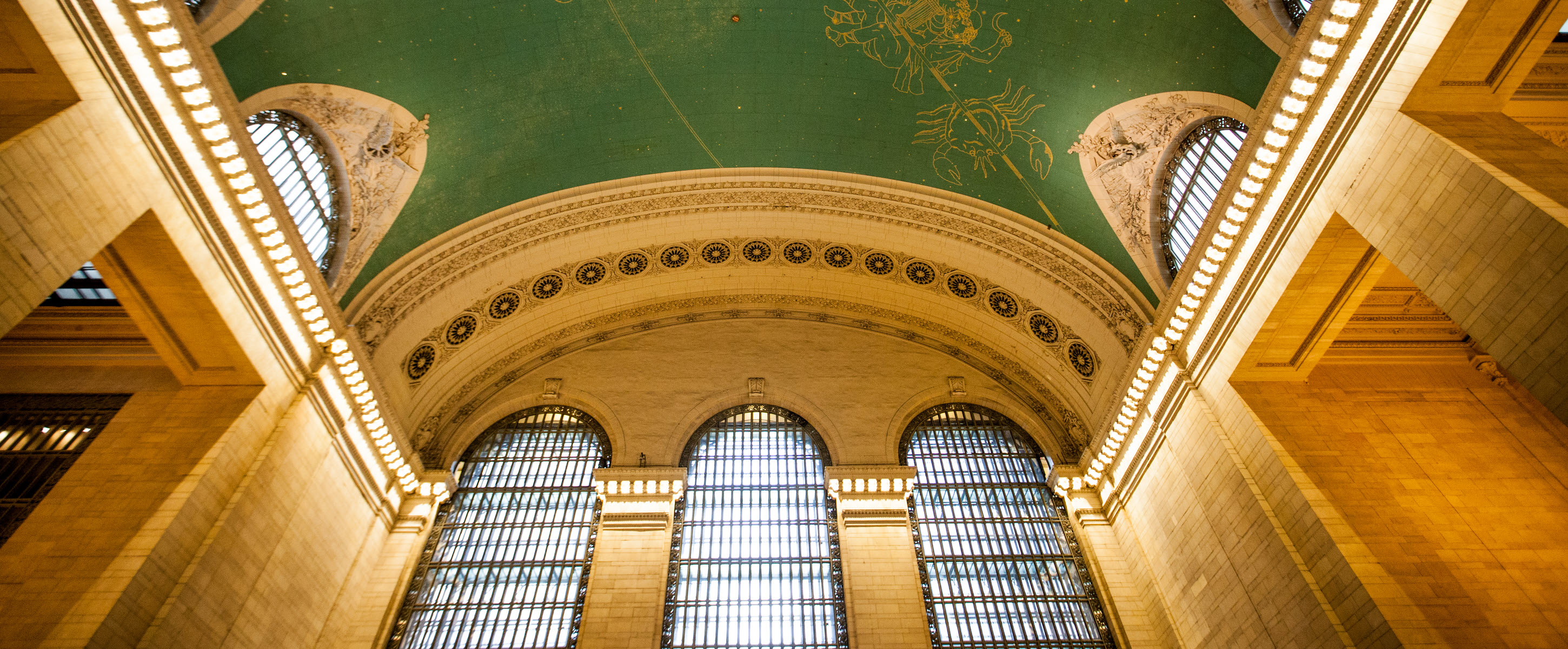 Green Ceiling with Gold Designs in Grand Central Station