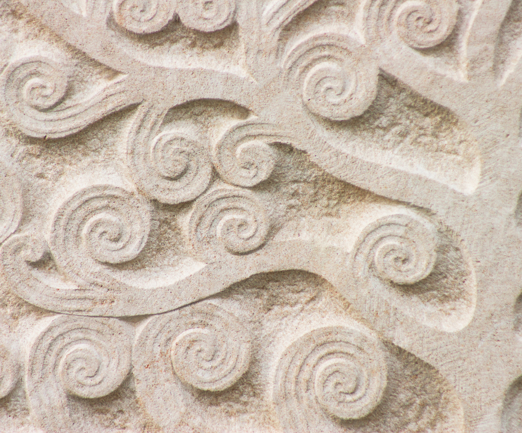 Floral pattern stone slab background