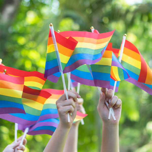 LGBT pride with rainbow flag for lesbian, gay, bisexual, and transgender people human rights social equality movements