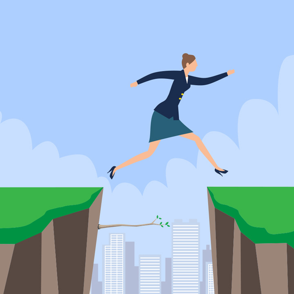Illustration of a business woman jumping over a gap