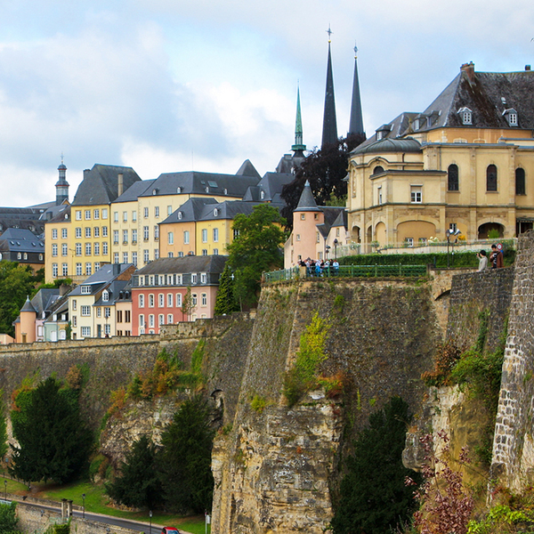 Luxembourg City with winding roads within the mountains