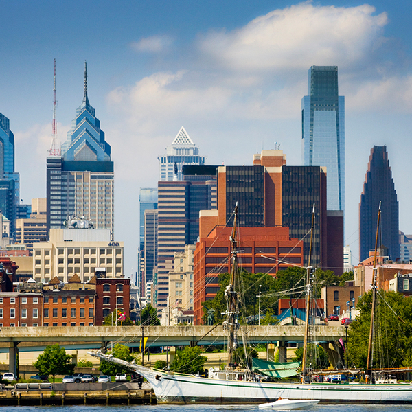 Philadelphia skyline with ship in the water