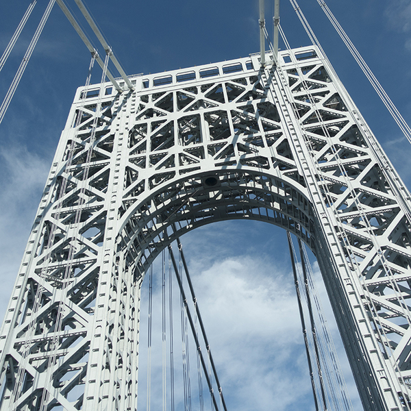 Upward View of George Washington Bridge Tower on Sunny Day