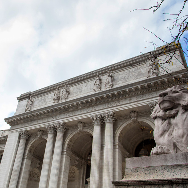 NY Public Library with a Stone Lion