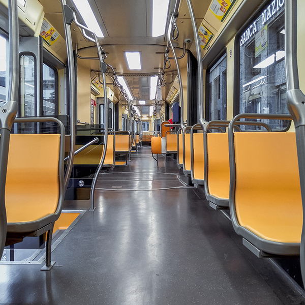 Empty yellow train seats
