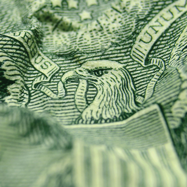 Close-up of eagle on US one dollar bill