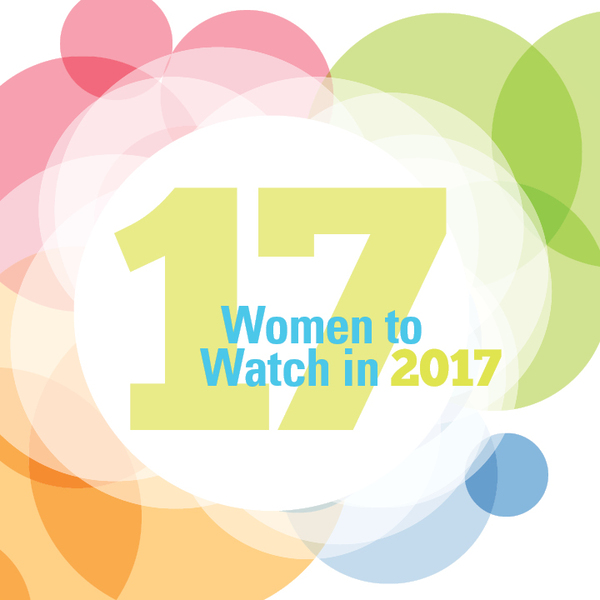 Overlapping circles of different colours with '17 Women to Watch in 2017' written in the middle