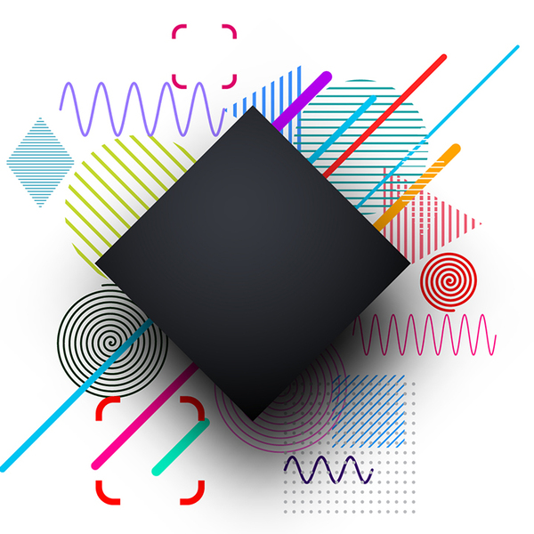 A black square in front of a colorful abstract background