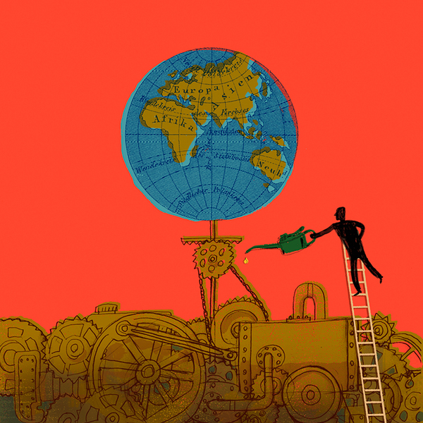 Illustration of a man on a ladder greasing a machine turning a globe of the earth