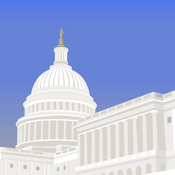 United States Capitol Building with blue background