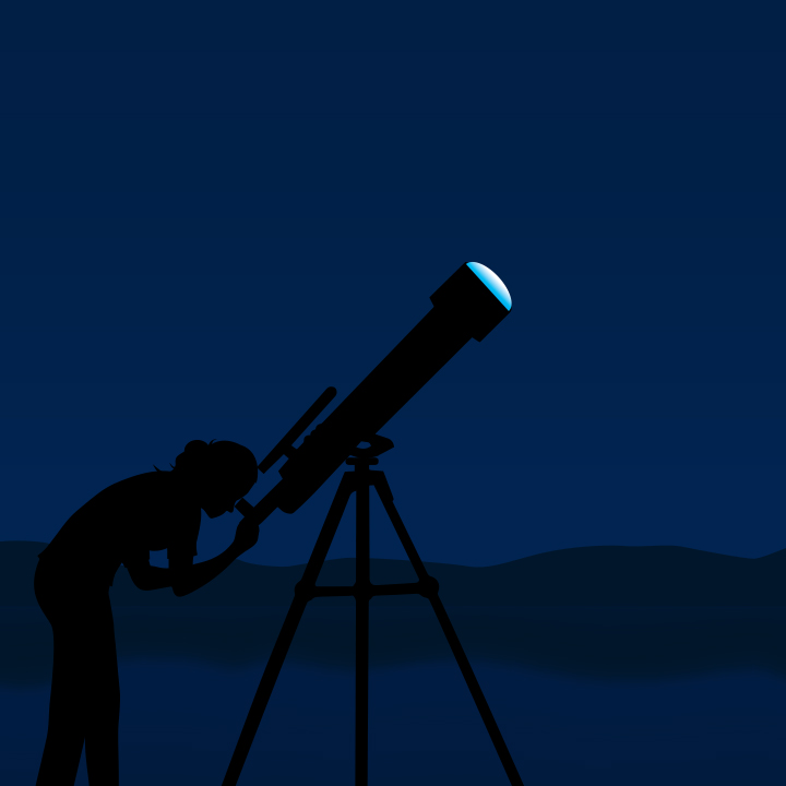 person looking through telescope at night