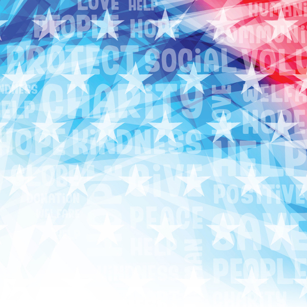 "Red white and blue background with stars and the wrods ""charity"", ""social"", ""protect"", and ""save"""