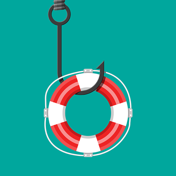 A life preserver on a fish hook with teal background