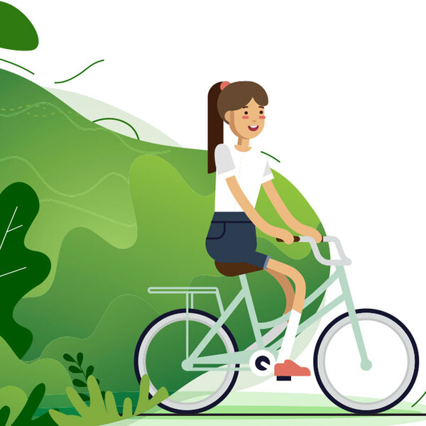 Cartoon of girl on a bicycle