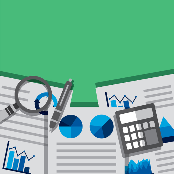 business reports scattered on a green table with a pen and calculator on top of them