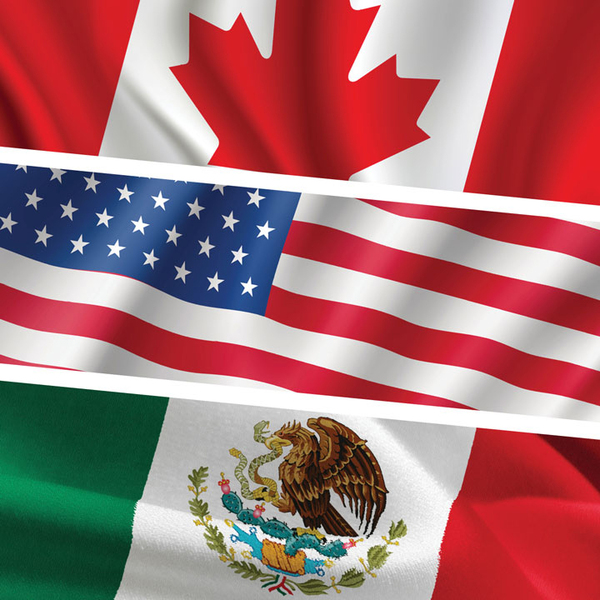 The Canadian, American, and Mexican flags