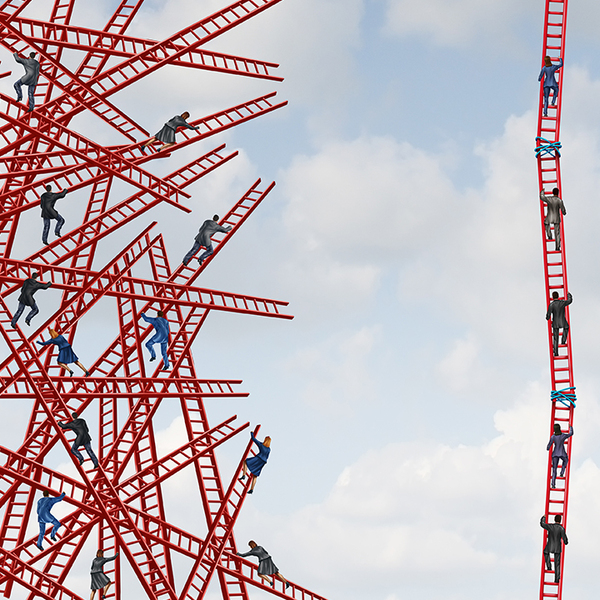 A group of confused people on tangled ladders in chaos next to another group of people working together on ladders in an organized way