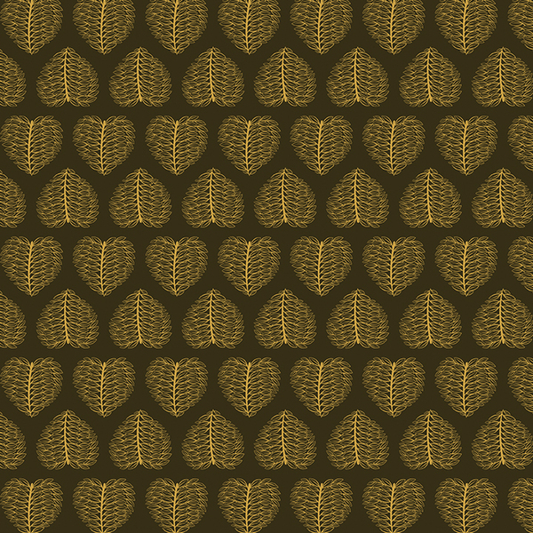 Golden leaf pattern on dark background