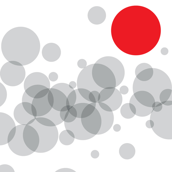 Series of gray bubbles with one large red circle.