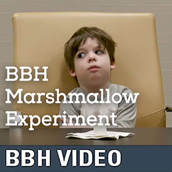 Little boy taking part in the BBH marshmallow experiment
