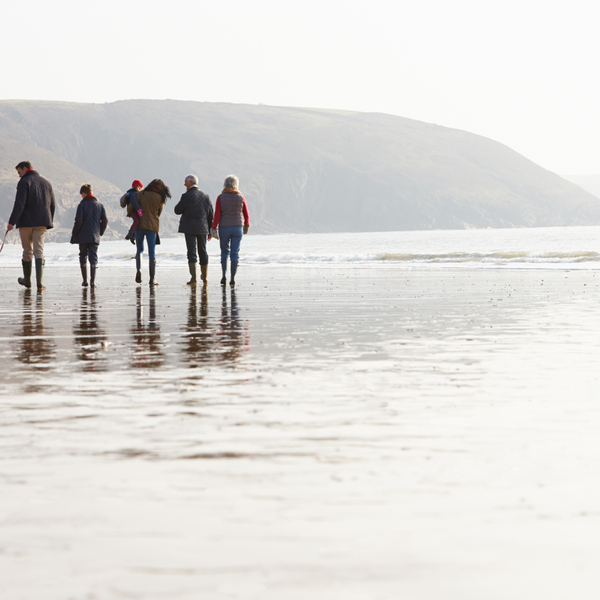 Multi Generation Family Walking On Winter Beach With Dog Relaxing
