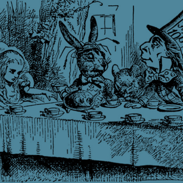 Alice in wonderland dinner party scene, showing Alice, the Hare, and the Mad Hatter