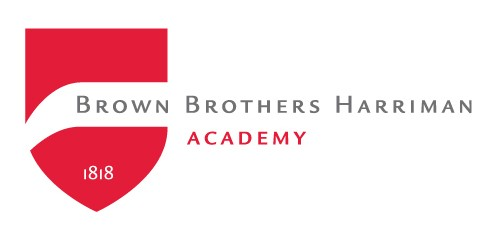 Brown Brothers Harriman Academy logo written in grey and red with a red flag on the left with the founding year, 1818 on it.