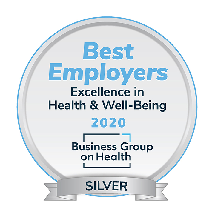 Best Employers: Excellence in Health & Well-being award for 2020 Business Group on Health, silver