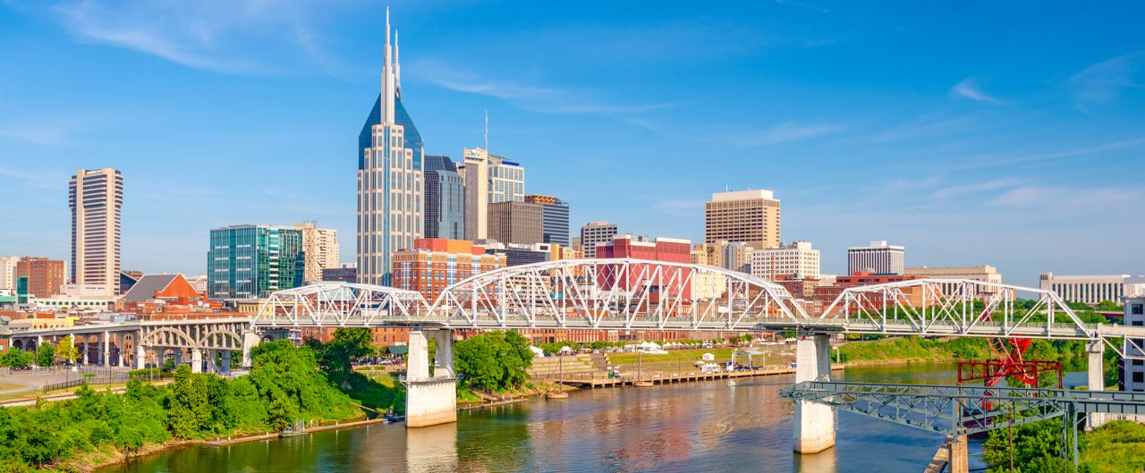 Nashville downtown city skyline on the Cumberland River.