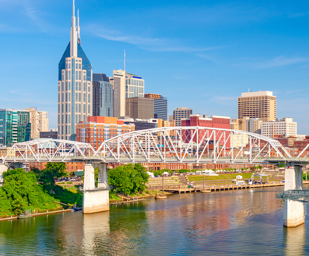 Nashville downtown city skyline on the Cumberland River