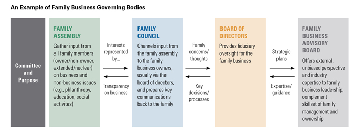 Hypotehtical governing bodies of a family business, including family assembly, family council, board of directors, and a family advisory board