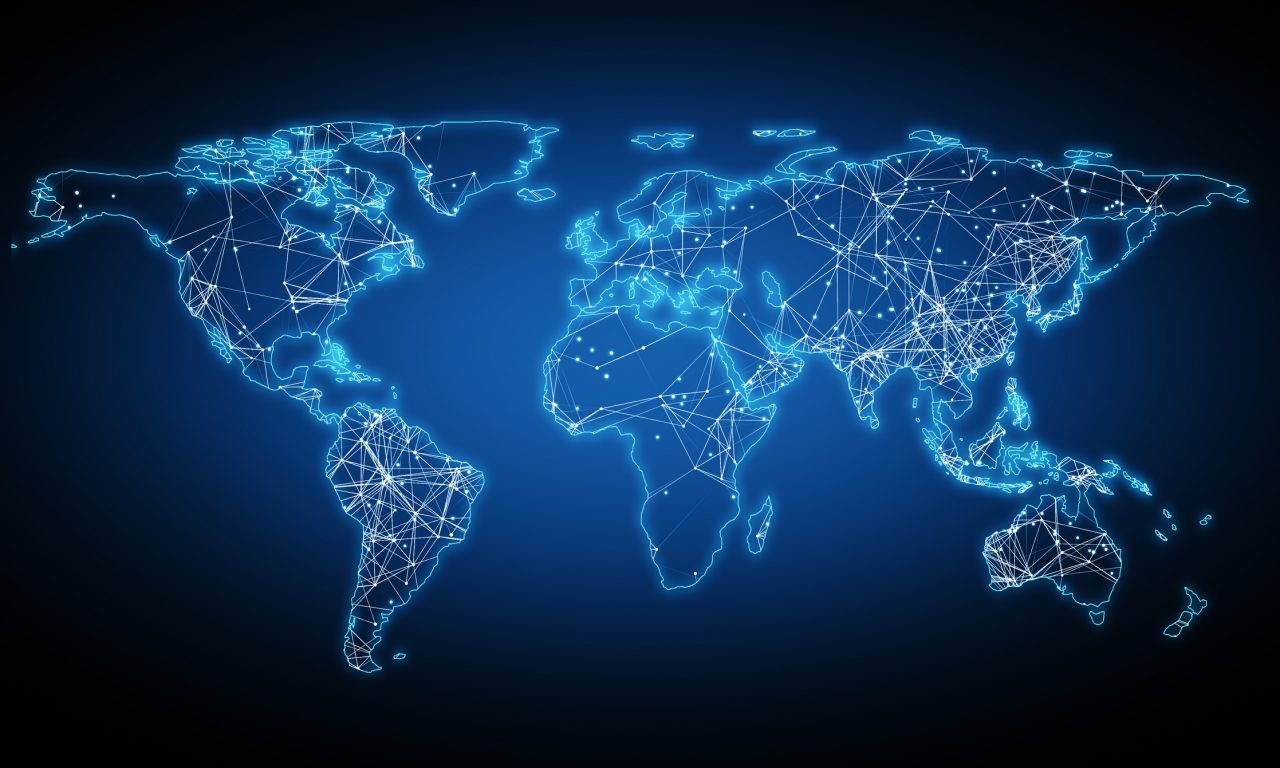 Blue world map made of bright blue and white lights