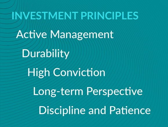 Investment Principles: active management, durability, high conviction, long-term perspective, discipline and patience